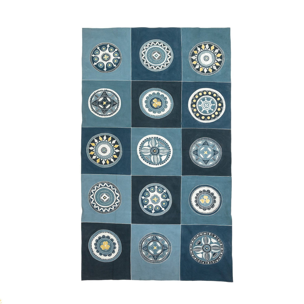 Hand made african tablecloth design with Indigo circles
