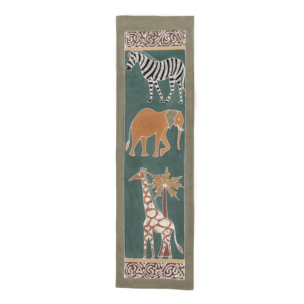 Hand-painted african wall art with safari animals in earthy green tones