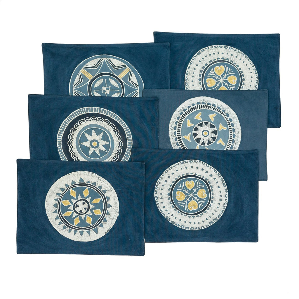 African placemats hand made with indigo and painted circles