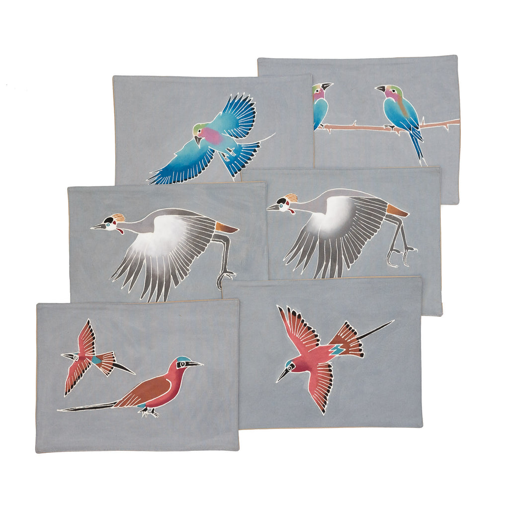 Table Mats Set with Birds