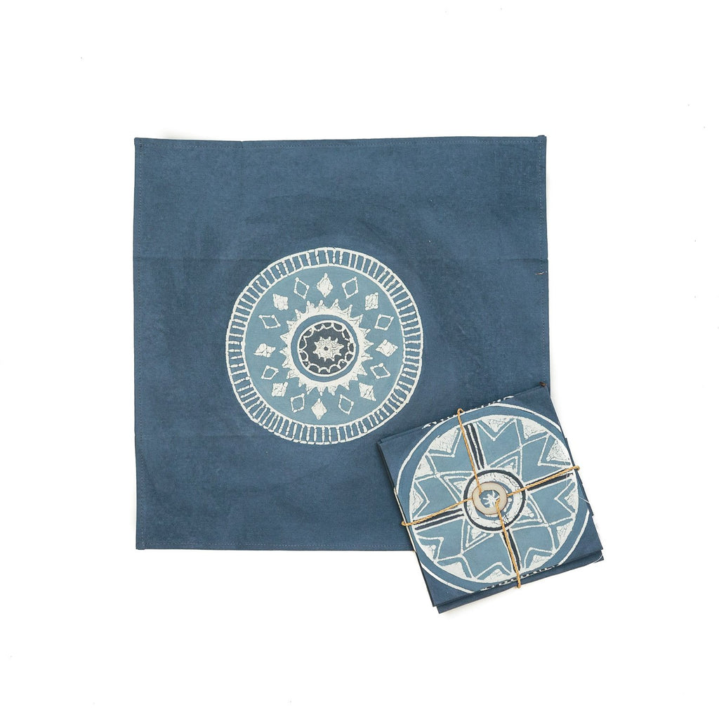 Hand-painted indigo Napkins with circles
