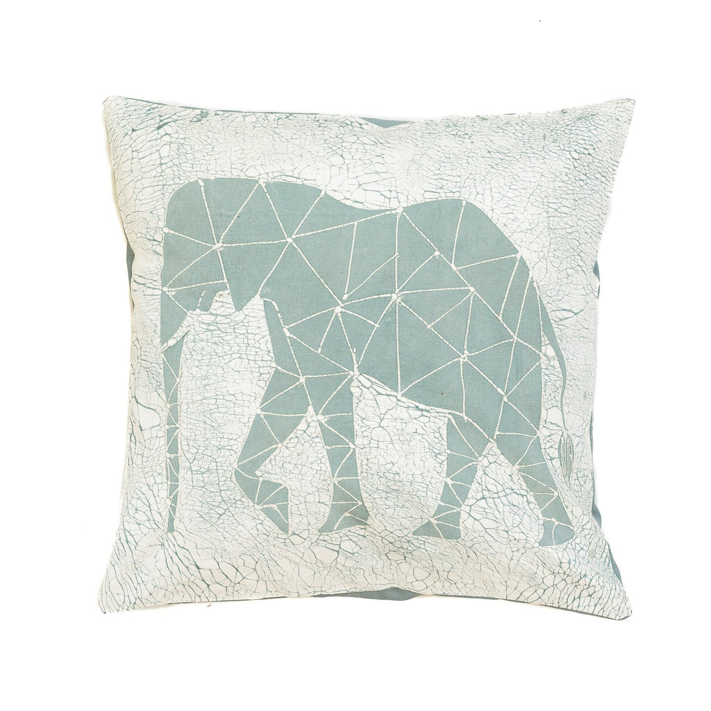 Throw Pillow with blue elephant and crackles - Tribal Textiles