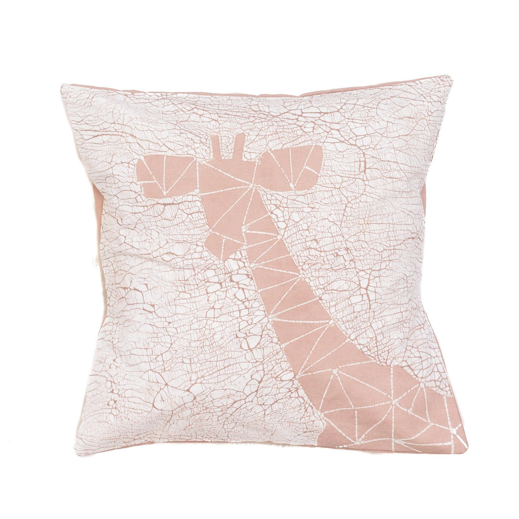Throw Pillow with pink giraffe and crackles - Tribal Textiles