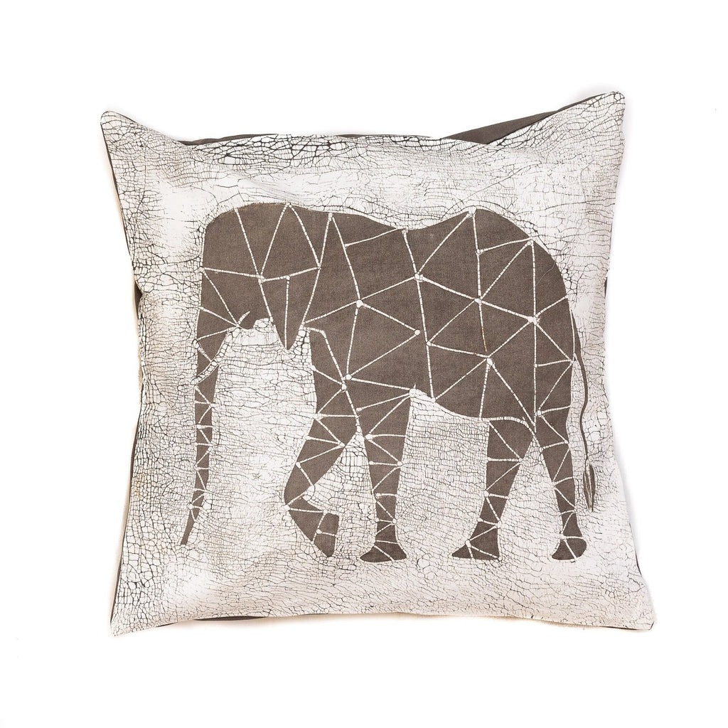 Throw Pillow with grey elephant and crackles - Tribal Textiles