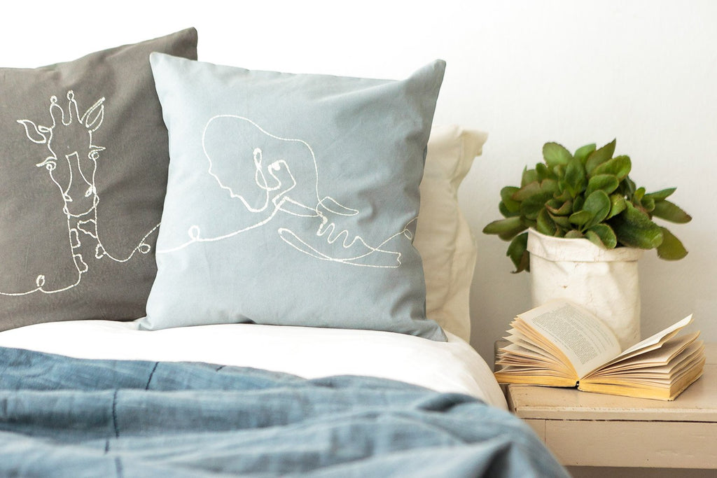 Cushion Cover - Wild Lines Elephant Light Blue