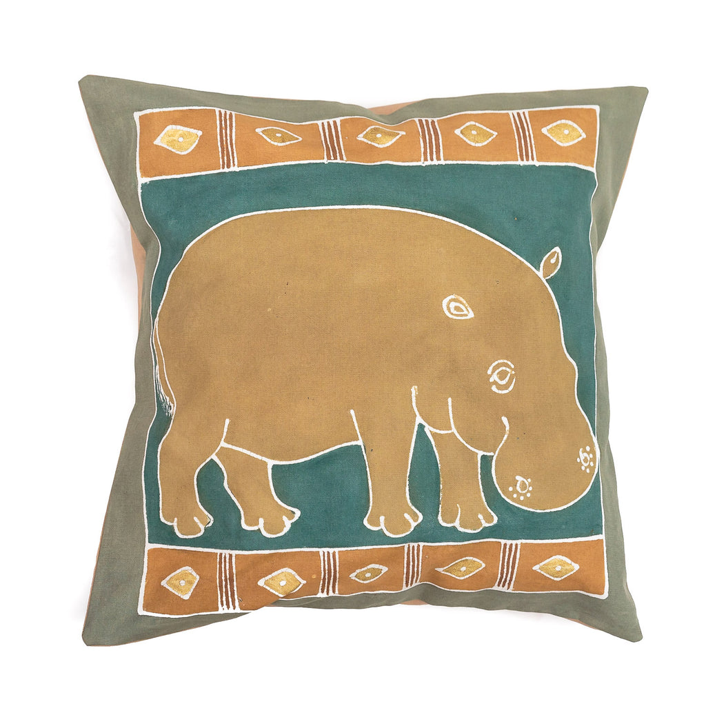 Cushion Covers ~ Safari Animals Hippo Earth