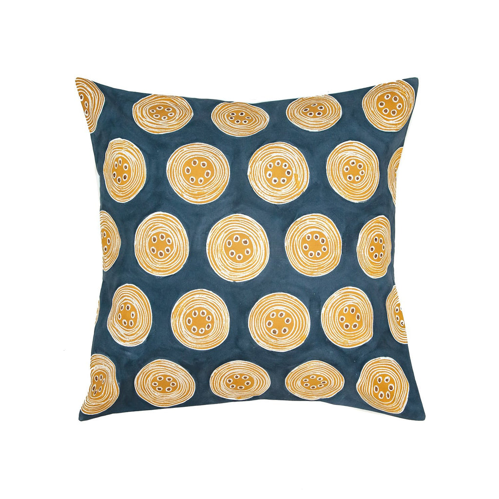 African Handmade cushion cover with yellow geometric pattern