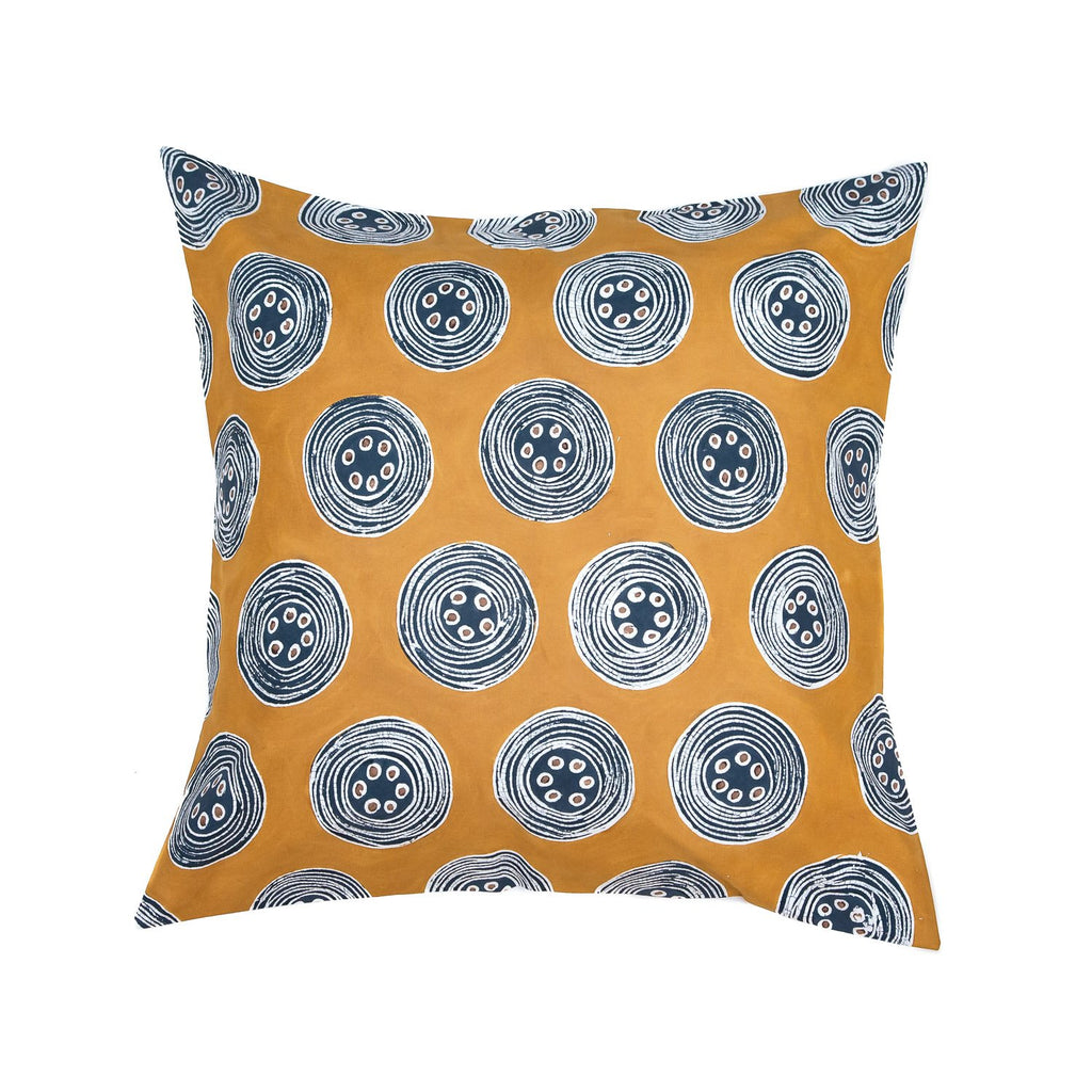 Hand-painted African print pillow with bold yellow and indigo circles