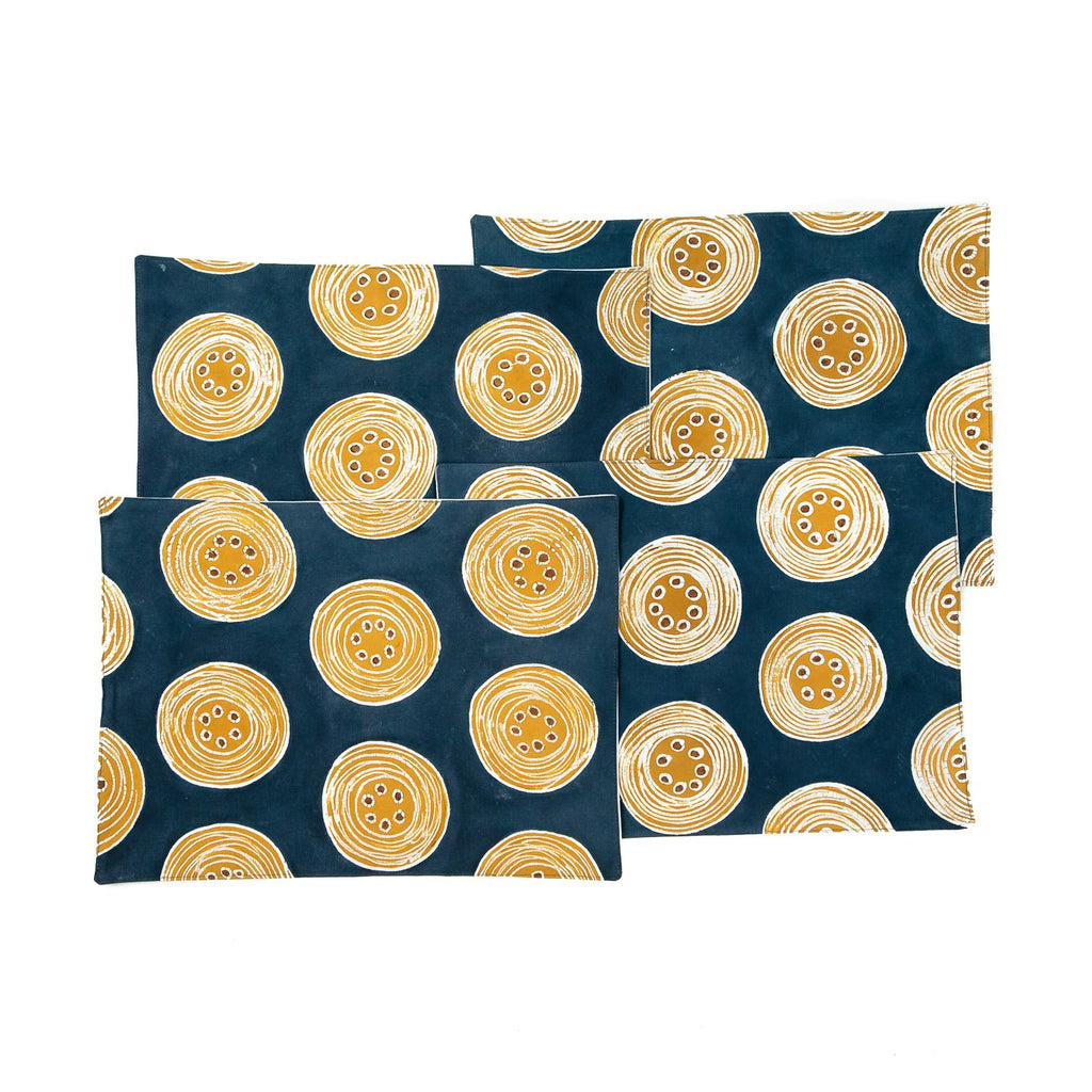 African placemats hand made with vibrant orange circles design