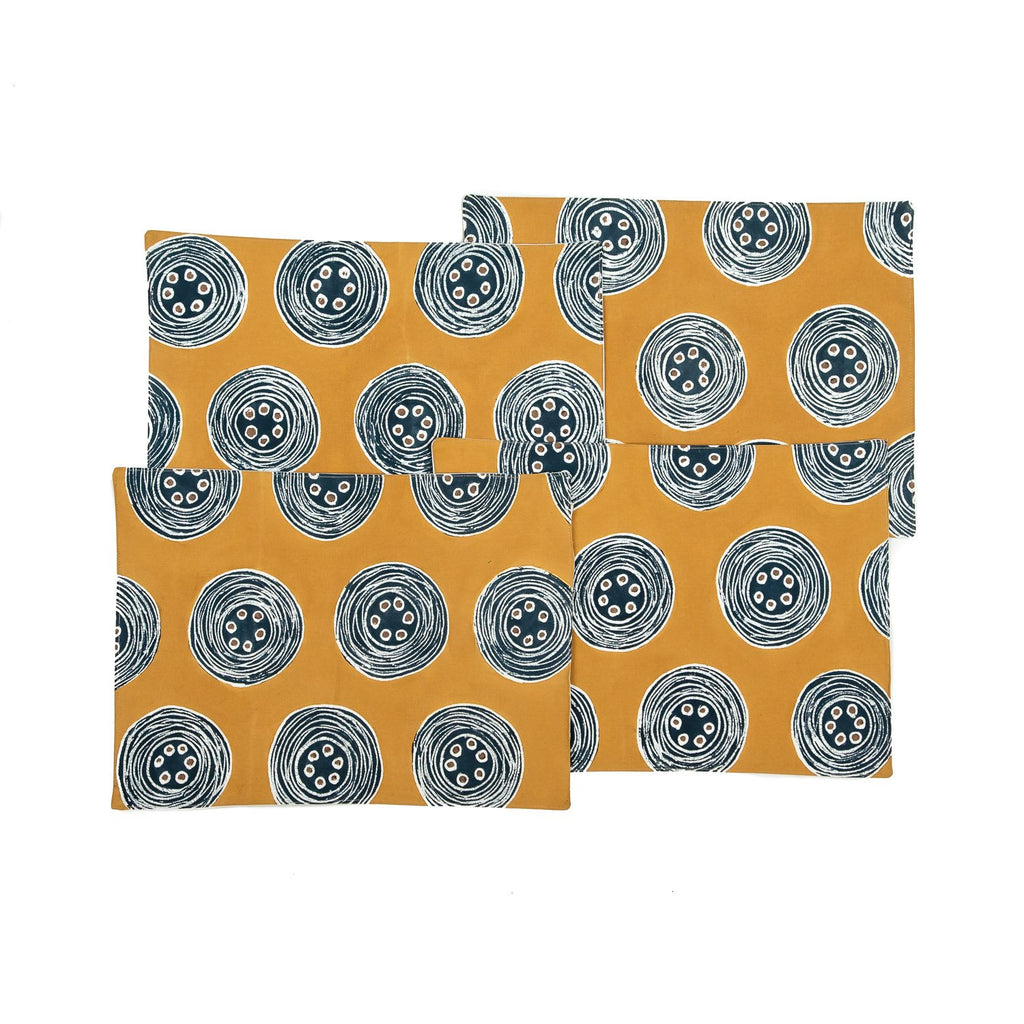 African placemats hand made with vibrant blue circles design