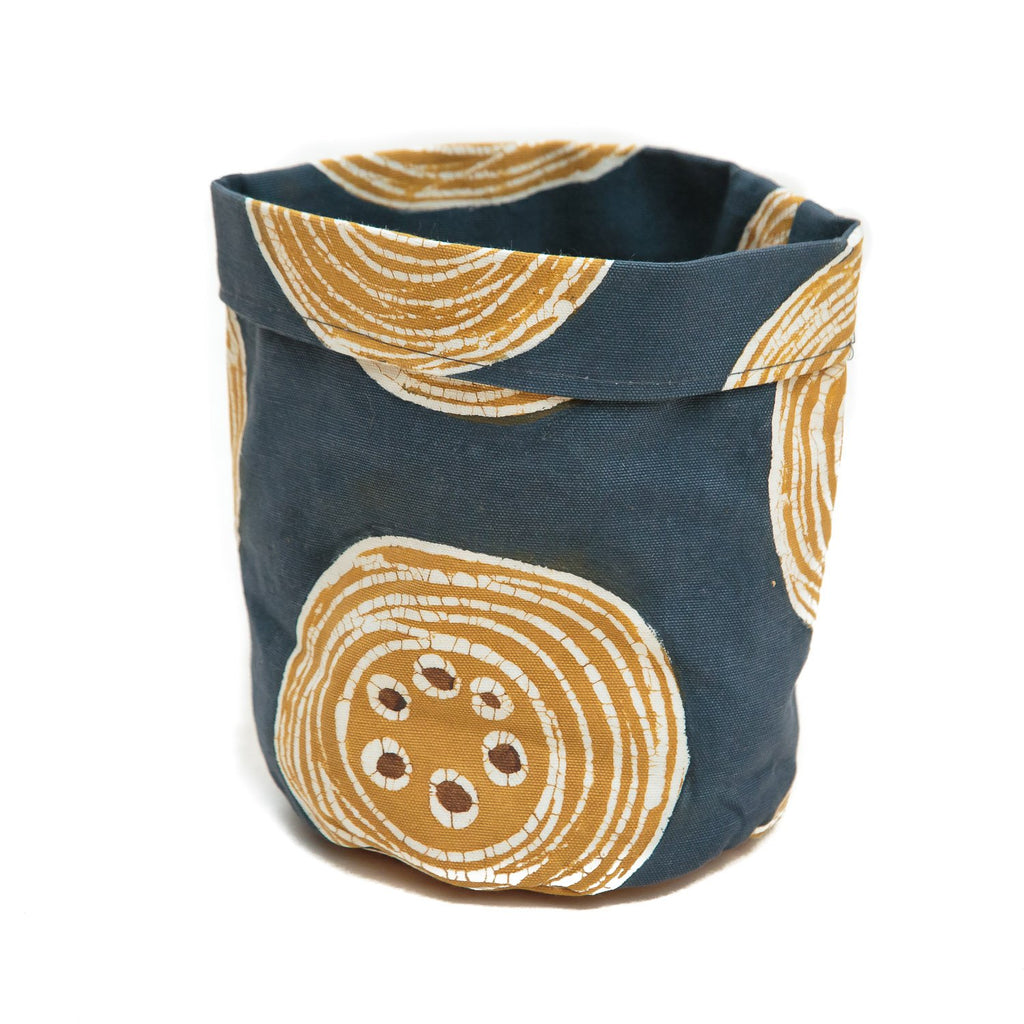Handmade storage pots with crackles by Tribal Textiles