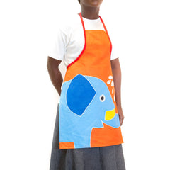 Hand-painted Kids' apron with safari elephant