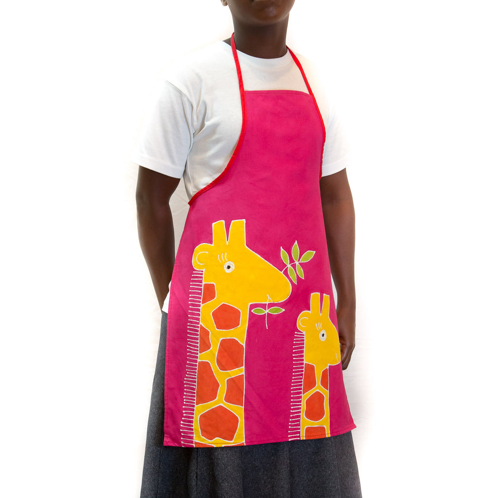 Hand-painted Kids' apron with safari giraffe