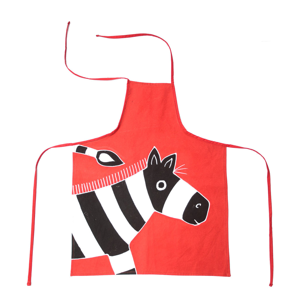 Hand-painted Kids' apron with safari zebra