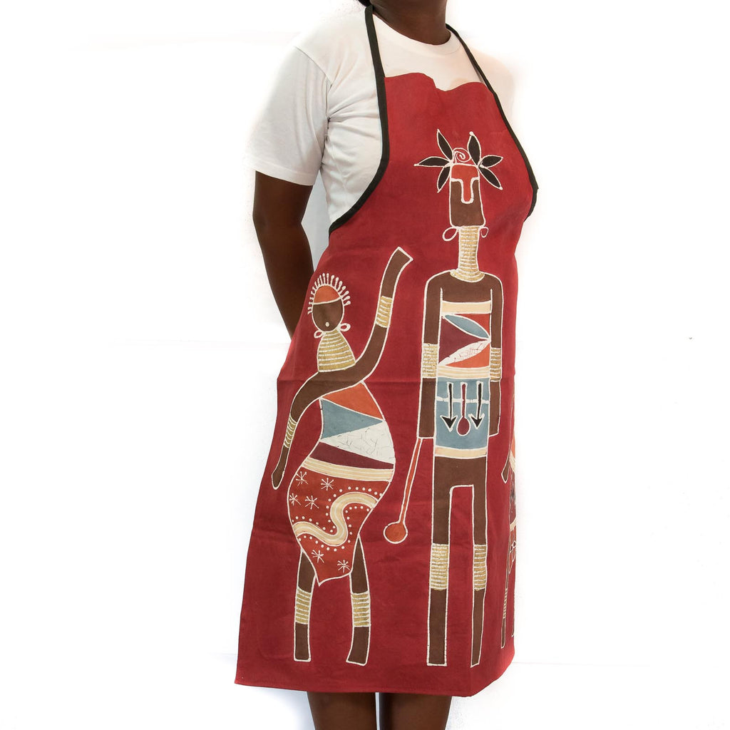 Hand painted, fair-trade apron, African print