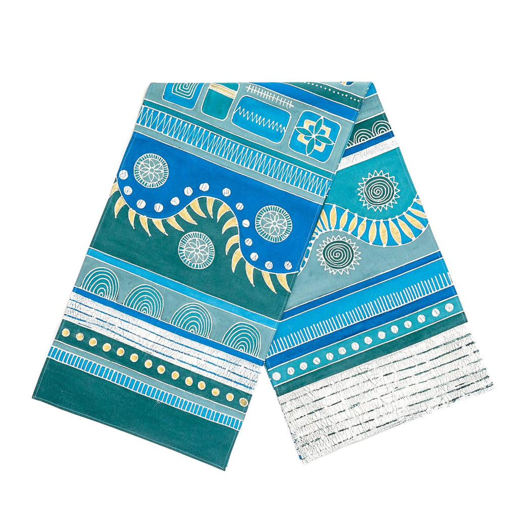 Hand made african table Runners with blue patterns