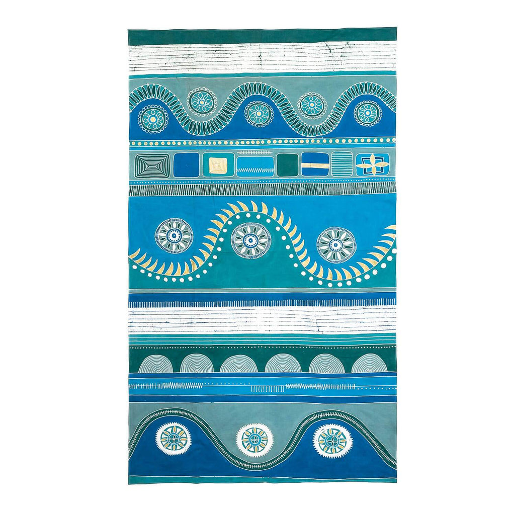 Hand made african tablecloth with bright blue design