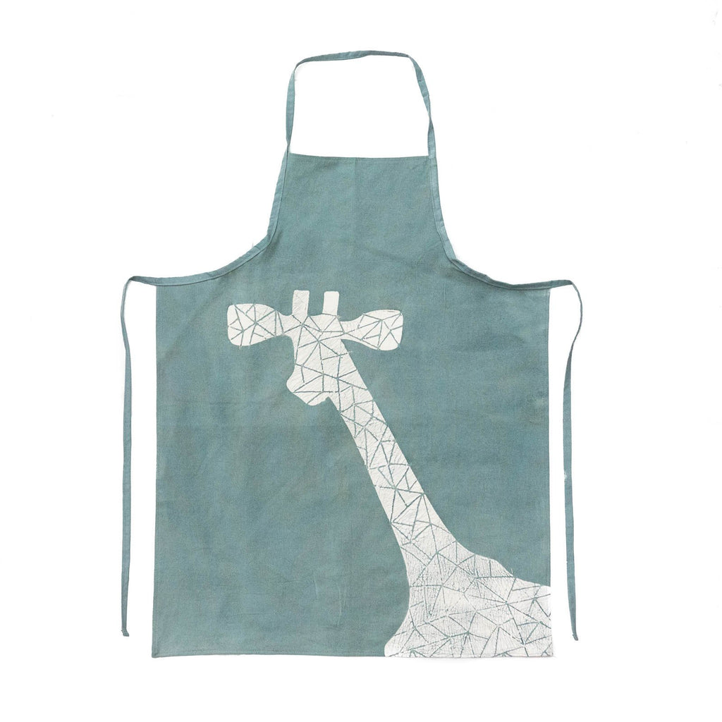 Aprons - Crackle Animals Giraffe Light Blue