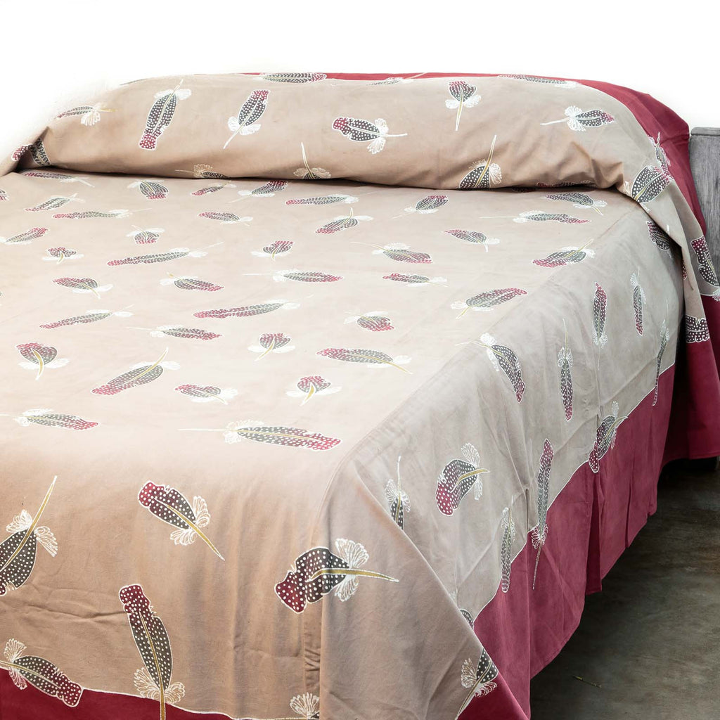 African hand-painted bedcover with Feathers