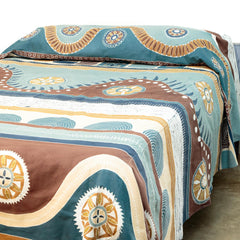 Handmade bed cover decorated with traditional Mali tribal print