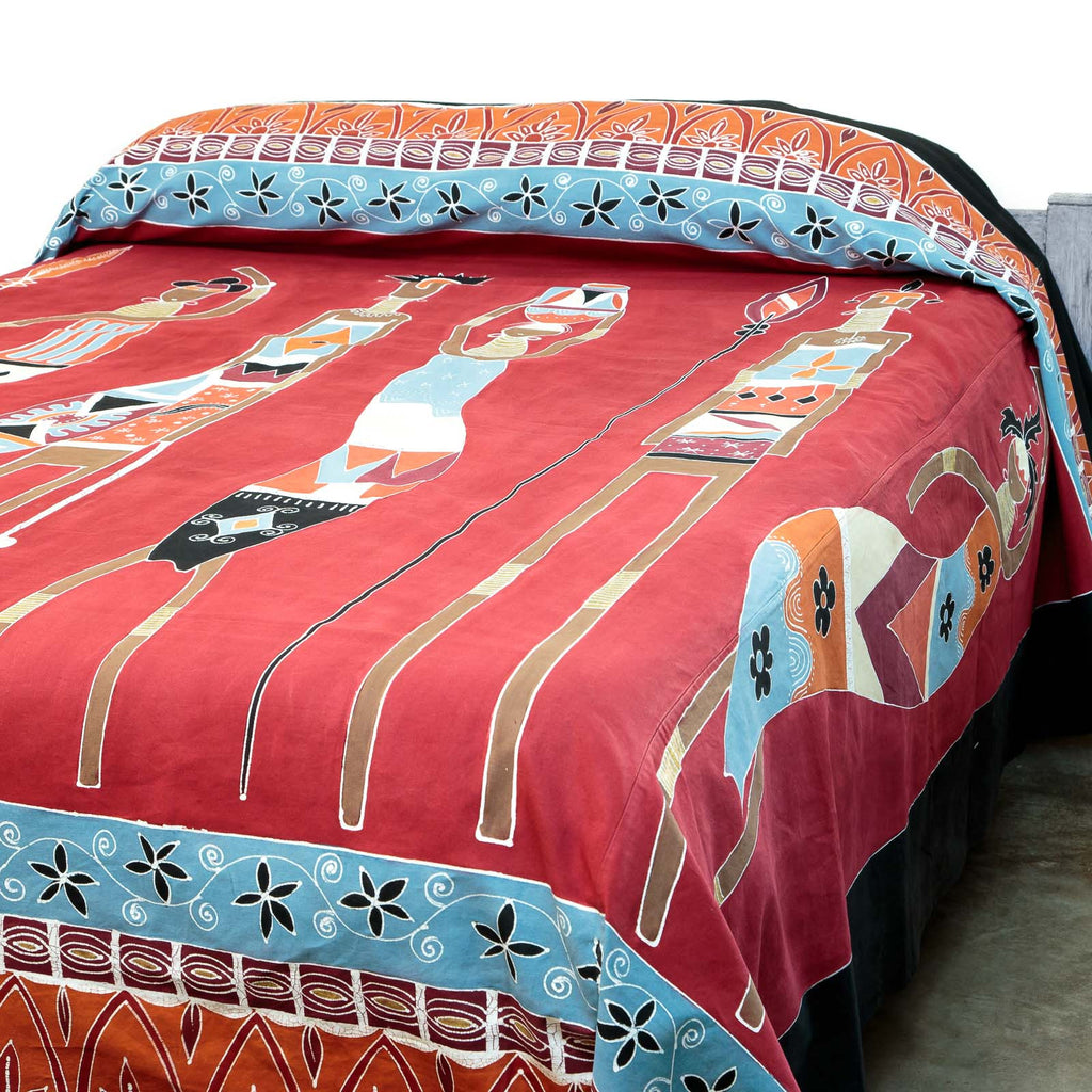Fair-trade bed cover with African Massai warriors design