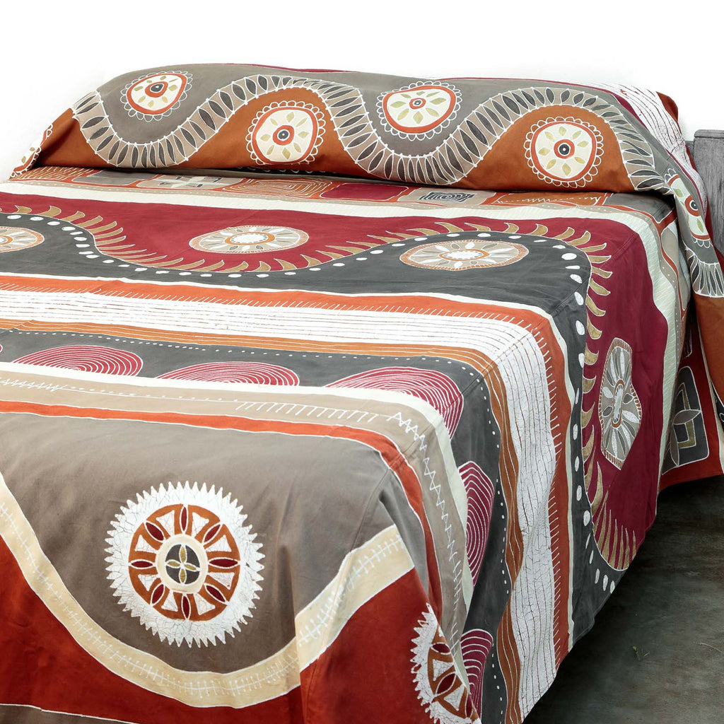 Handmade bed cover decorated with traditional african tribal print