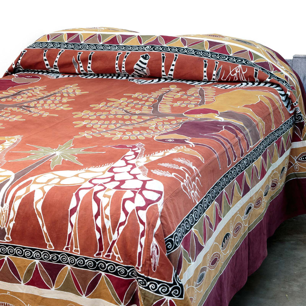 Fair-trade bed covers with african Safari Animal print