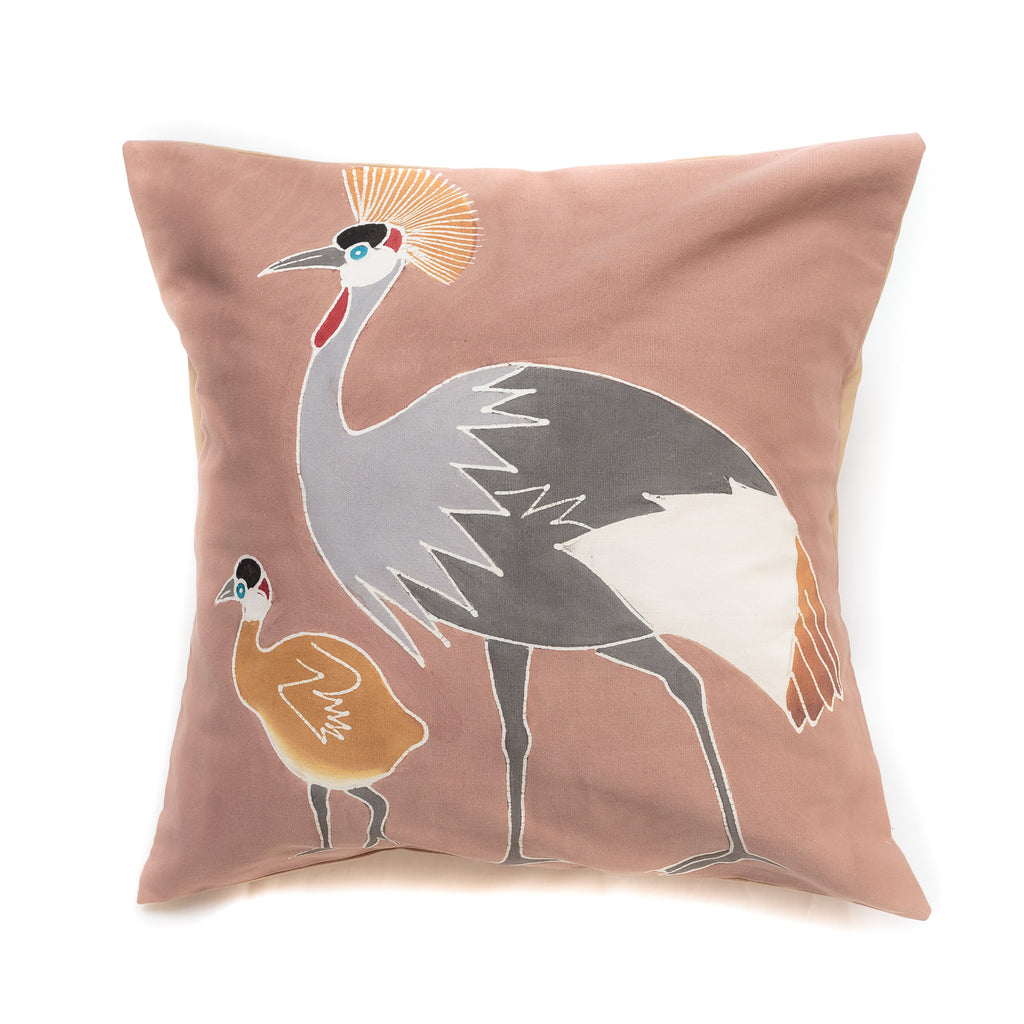 Cushion cover decorated with crowned cranes design