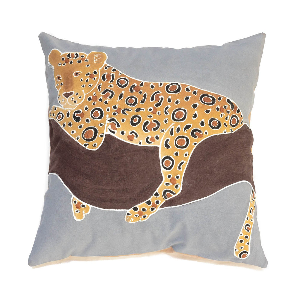 African cushion cover decorated with leopard design