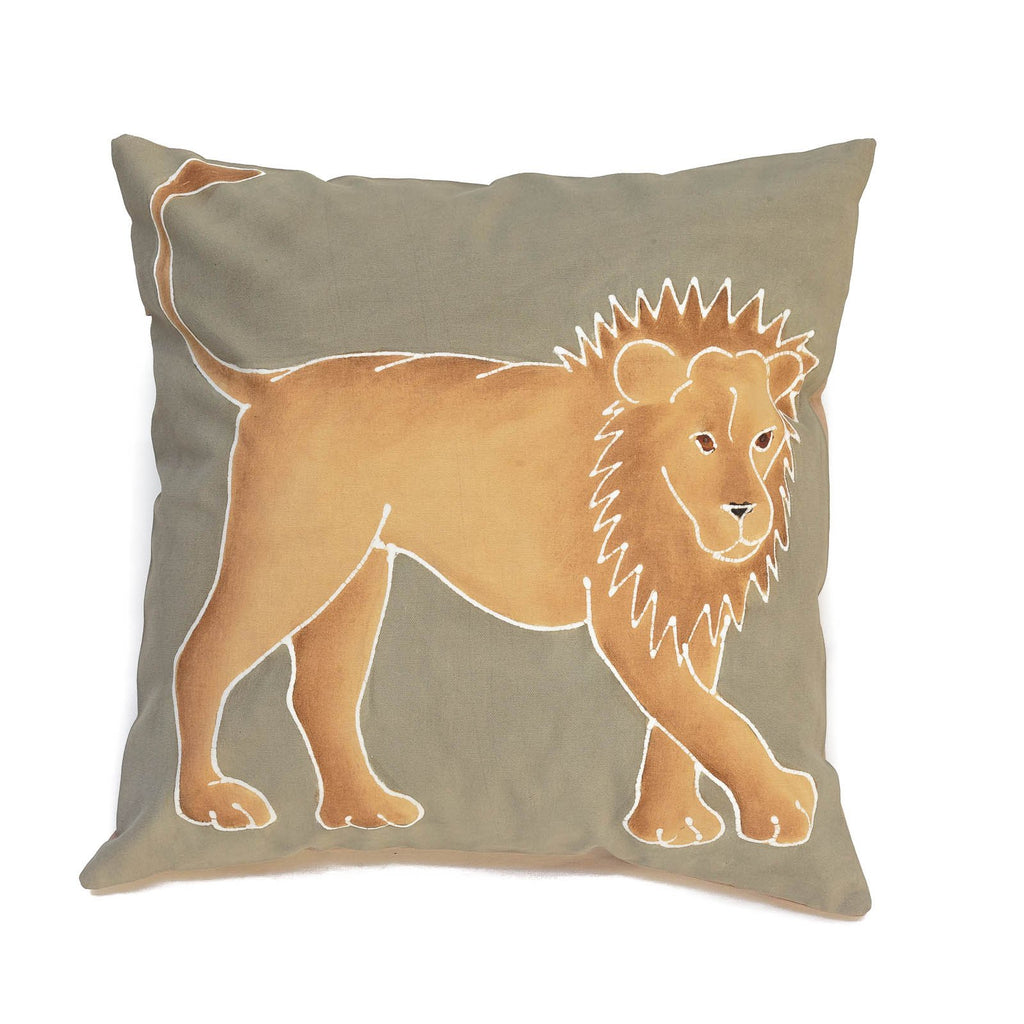 Cushion cover decorated with lion carnivore design