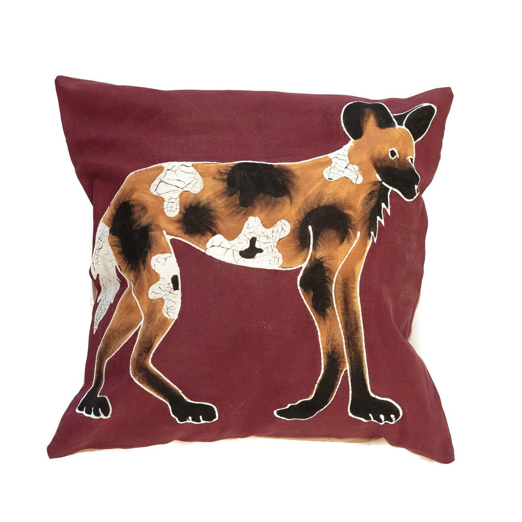 Cushion cover decorated with wild dog carnivore