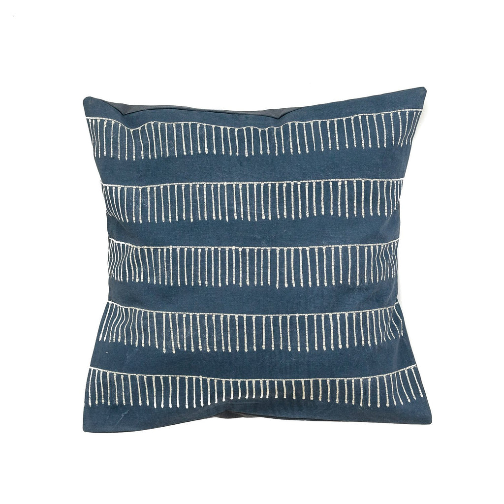 Pillow Case Indigo with Rake pattern from Tribal Textiles