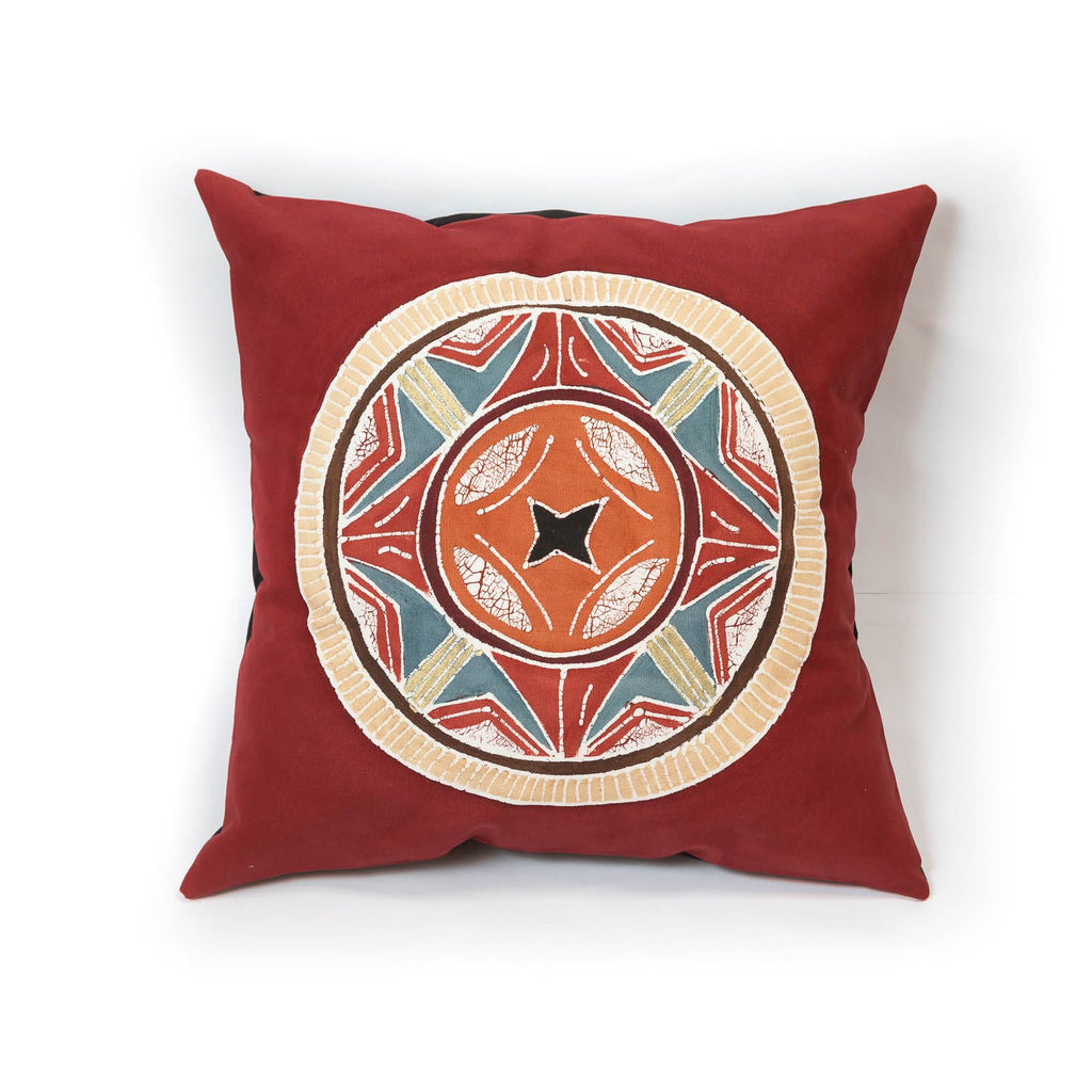 Cushion cover decorated with traditional African circle motif design