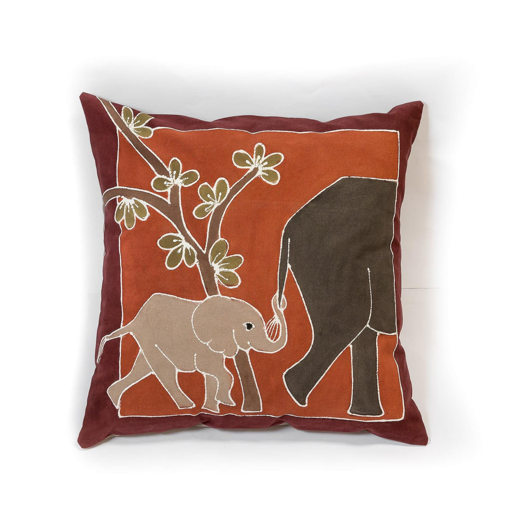 Elephant safari scene cushion cover