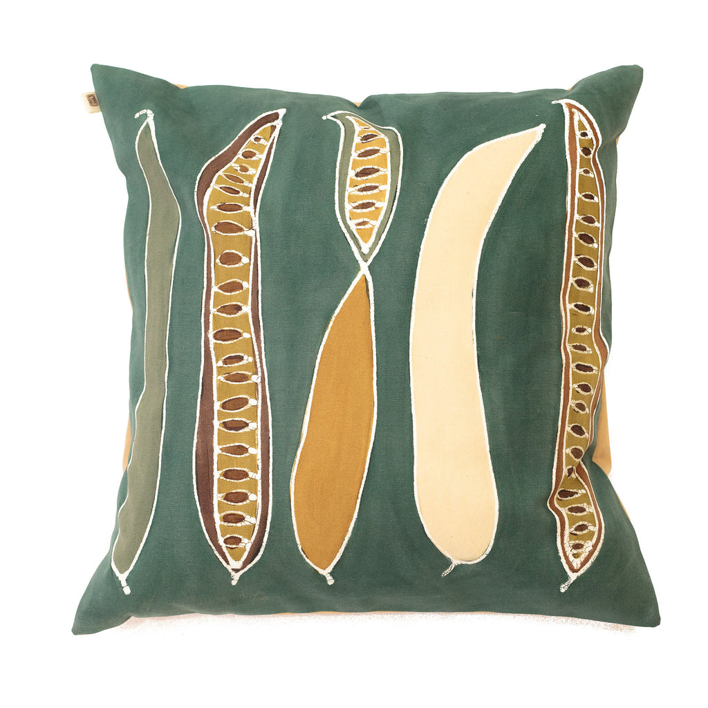 Cushion cover illustrated with natural pod design, inspired by the Flamboyant trees of Africa