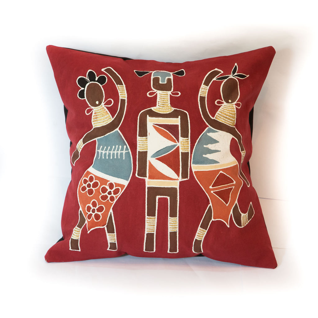 Hand-painted African cushion cover - Lady warriors