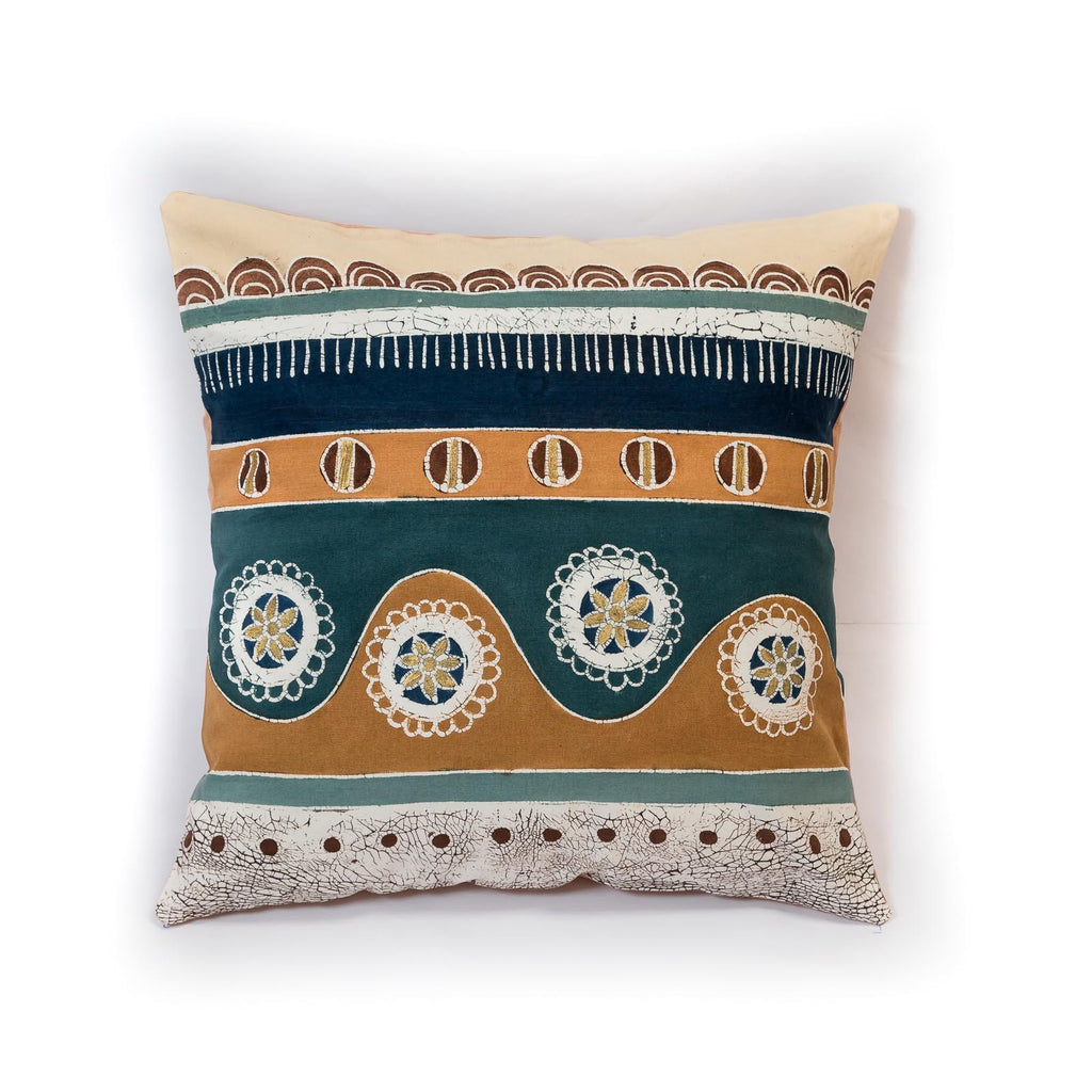 Hand-painted African print pillow made in Africa