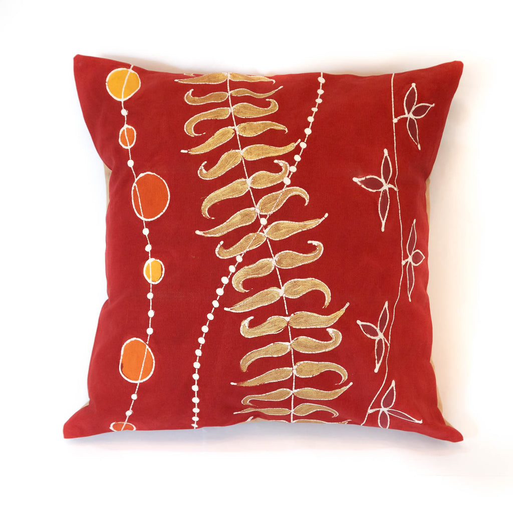 100% cotton cushion cover with overlapping raindance thread design
