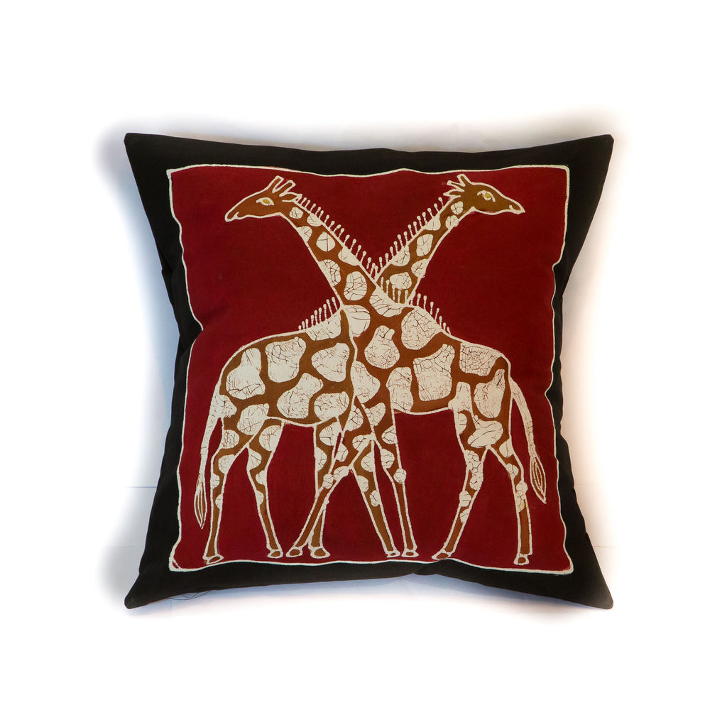 Hand-painted giraffe print cushion cover