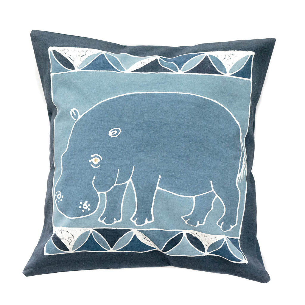 Cushion Covers ~ Safari Animals Hippo Indigo