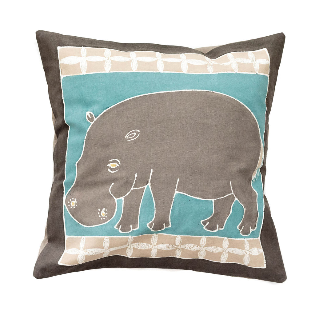 Cushion Covers ~ Safari Animals Hippo Teal