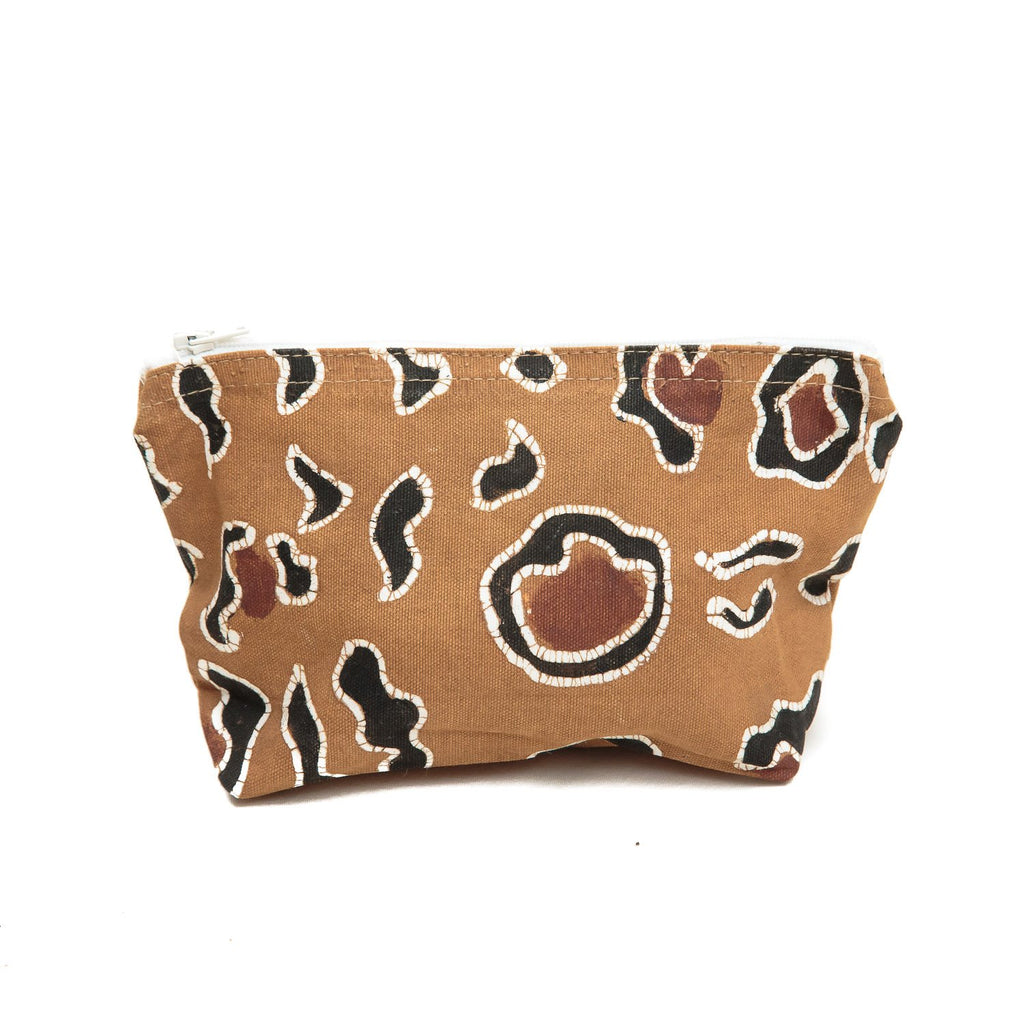 Handmade washbag with leopard print by Tribal Textiles