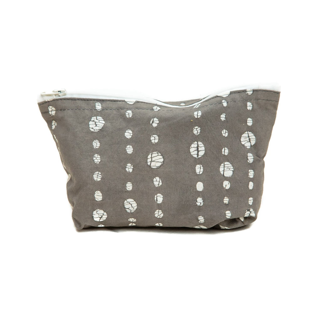 Handmade cosmetic pouch with dots by Tribal Textiles