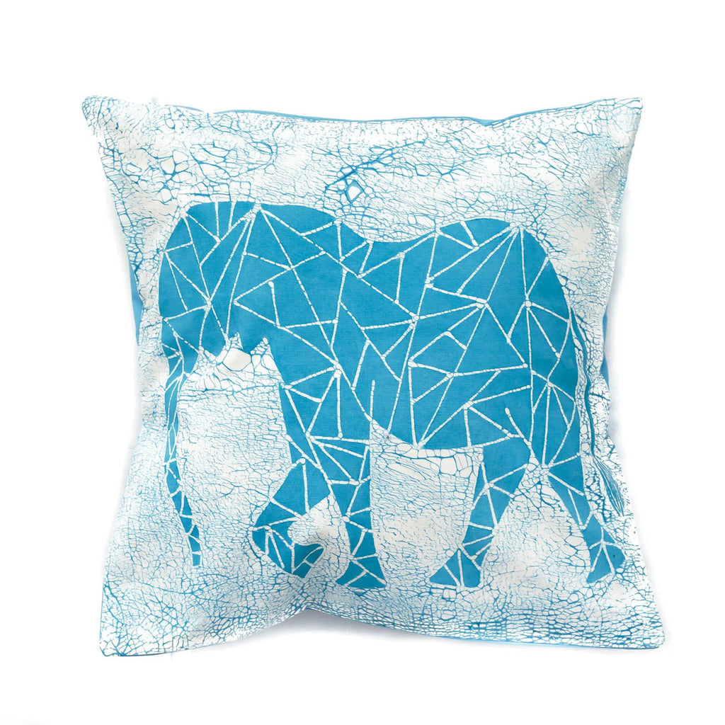 Handmade Throw Pillow with bright blue elephant and crackles - Tribal Textiles