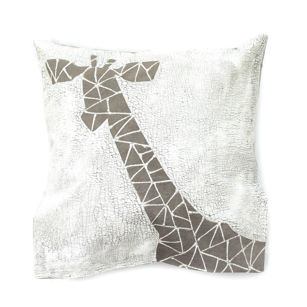Throw Pillow with grey giraffe and crackles - Tribal Textiles