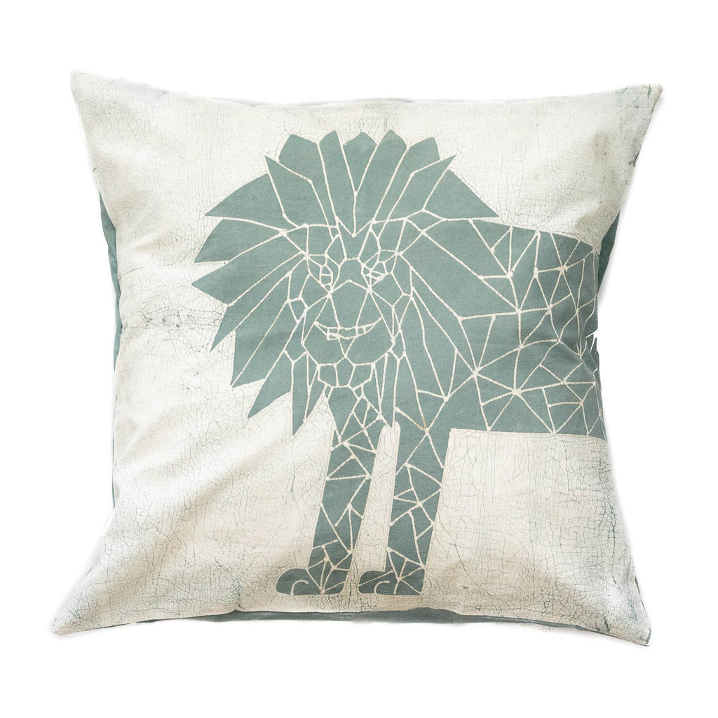 Throw Pillow with blue lion and crackles - Tribal Textiles