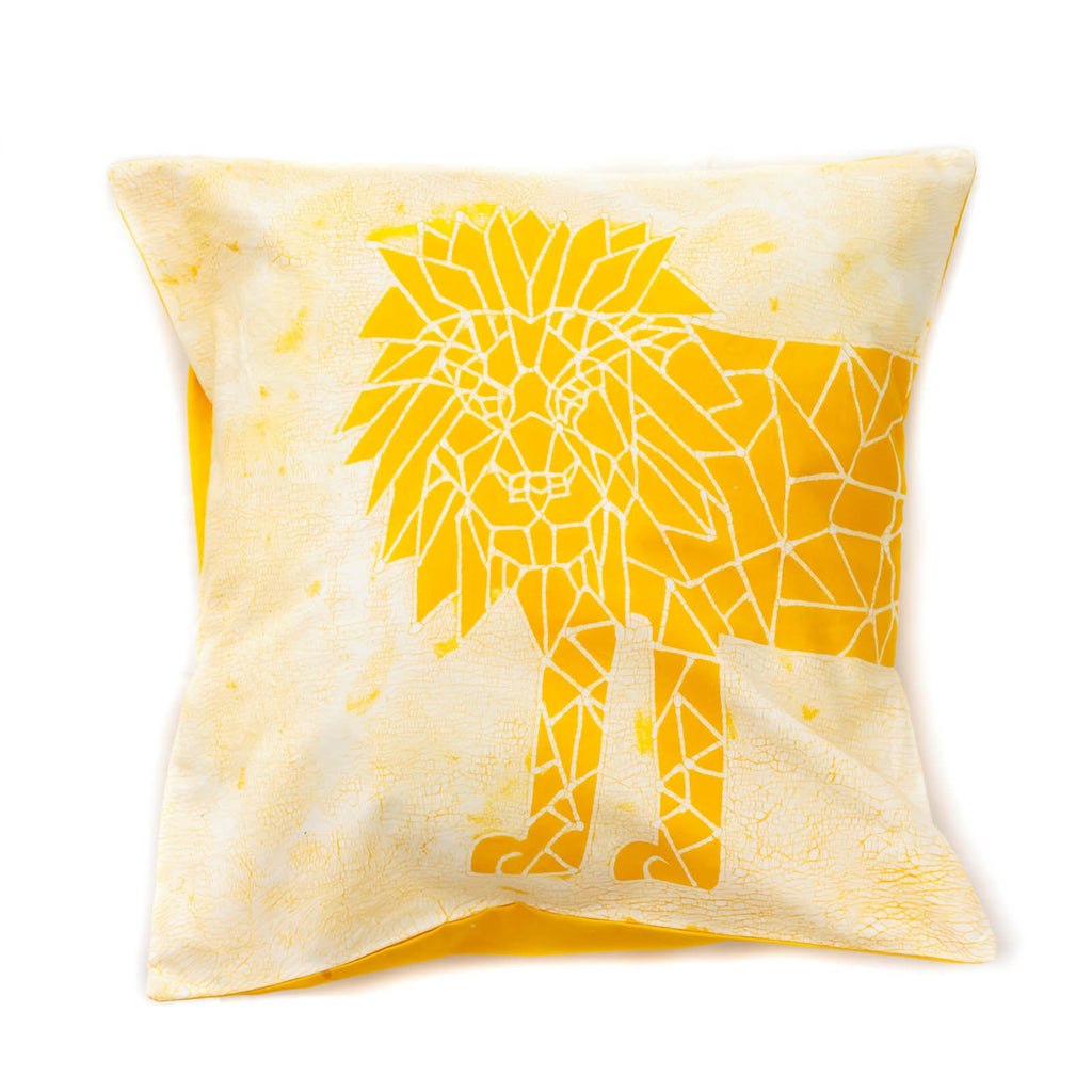 Handmade Throw Pillow with yellow lion and crackles - Tribal Textiles