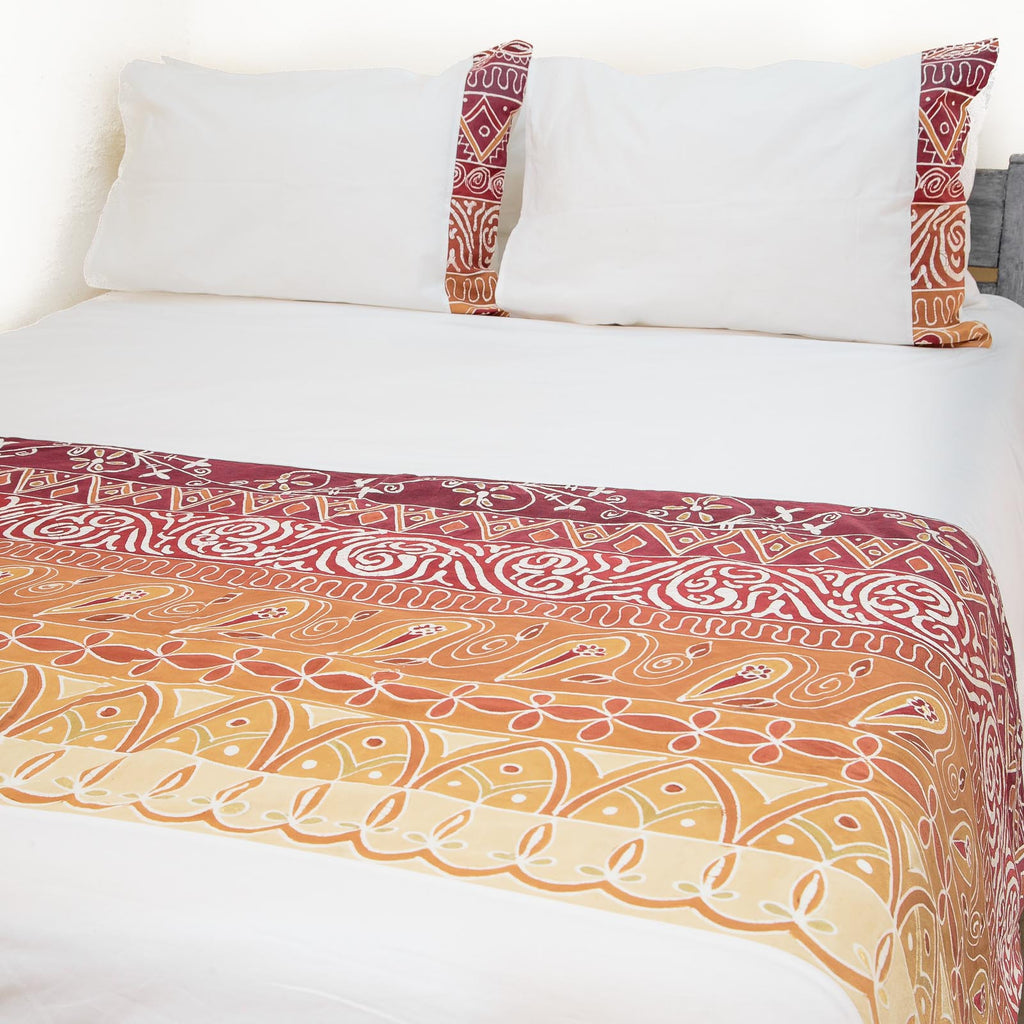 African Duvet Cover in intricate red colours