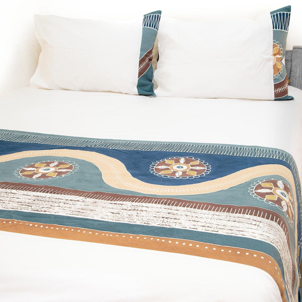 Handmade duvet cover and pillowcase with african patterns