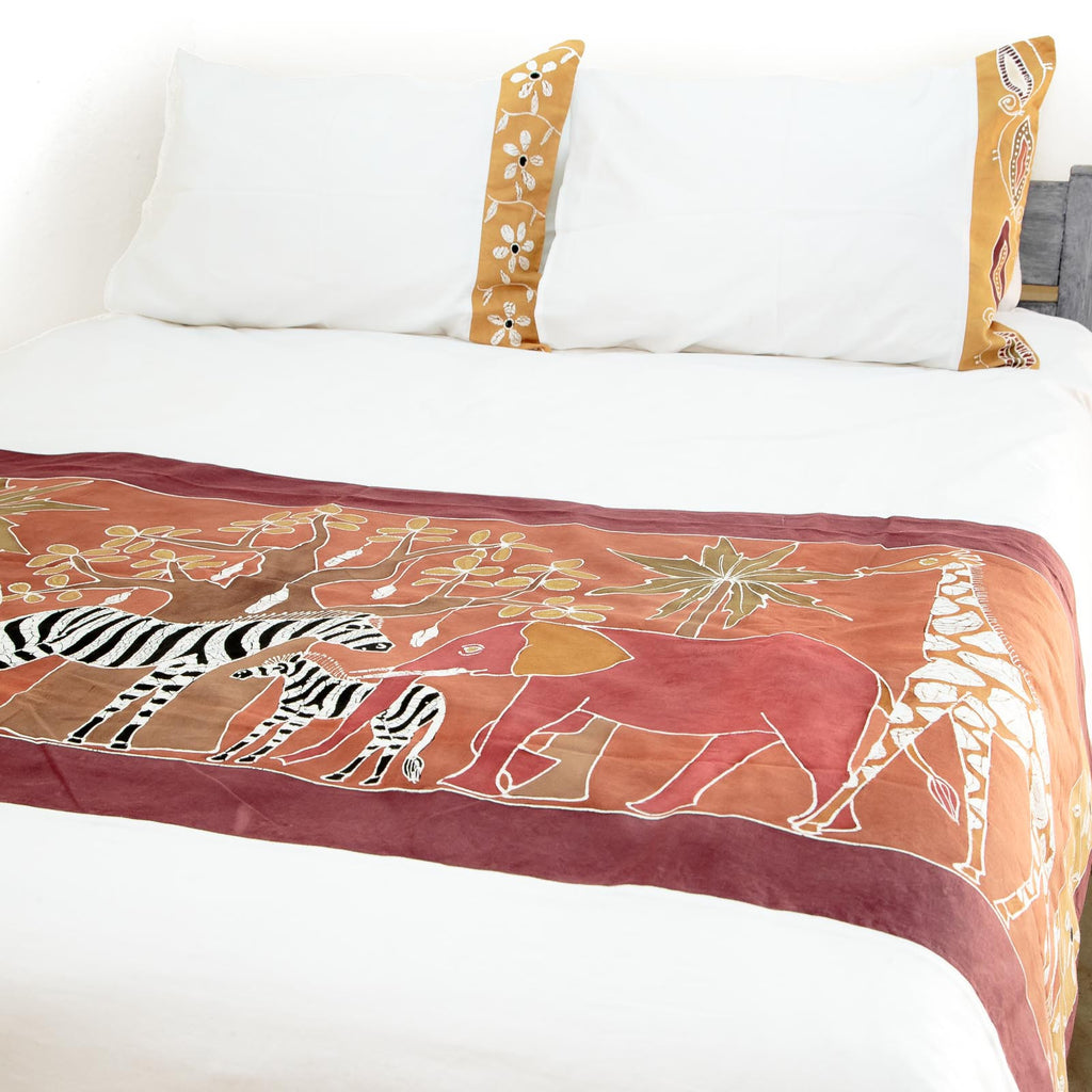 African safari bedding with game hand-painted